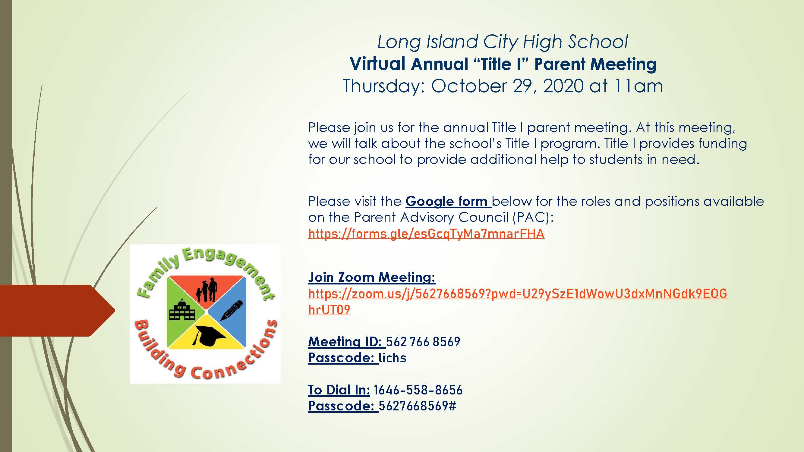 Virtual Annual Title I Parent Meeting flyer