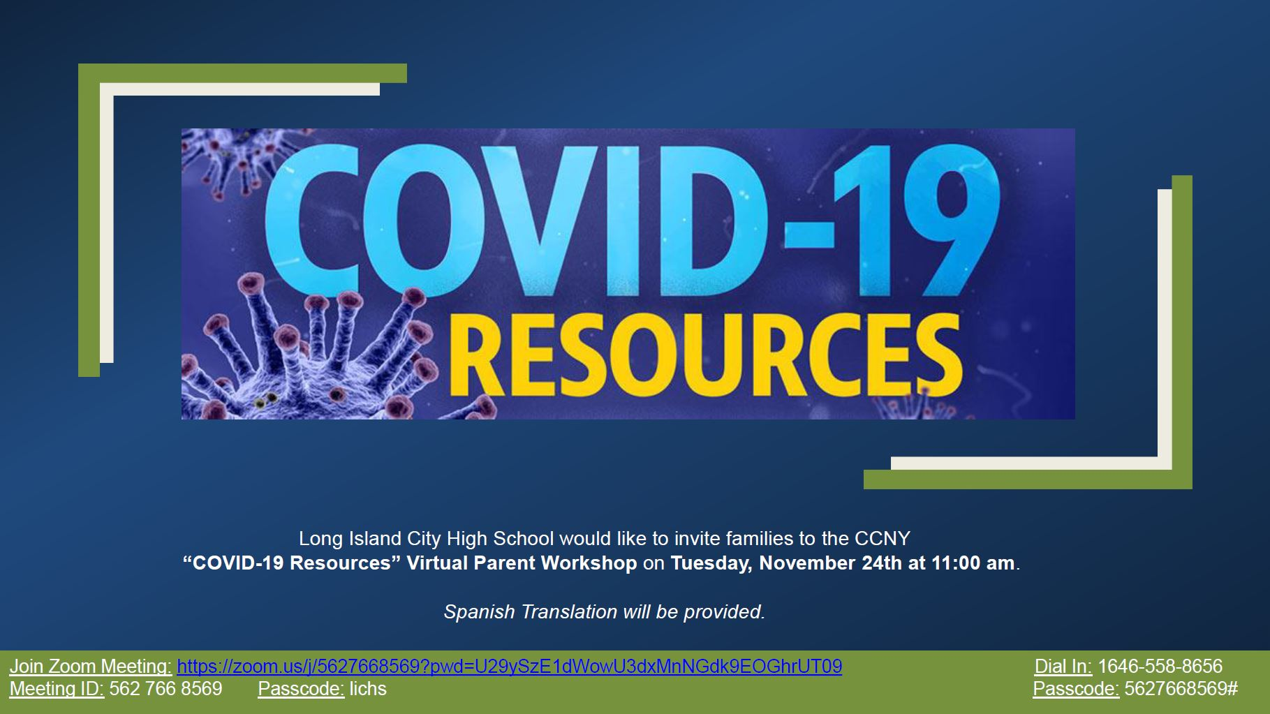 COVID-19 Resources Virtual Parent Workshop flyer on Tuesday, November 24th at 11:00 am