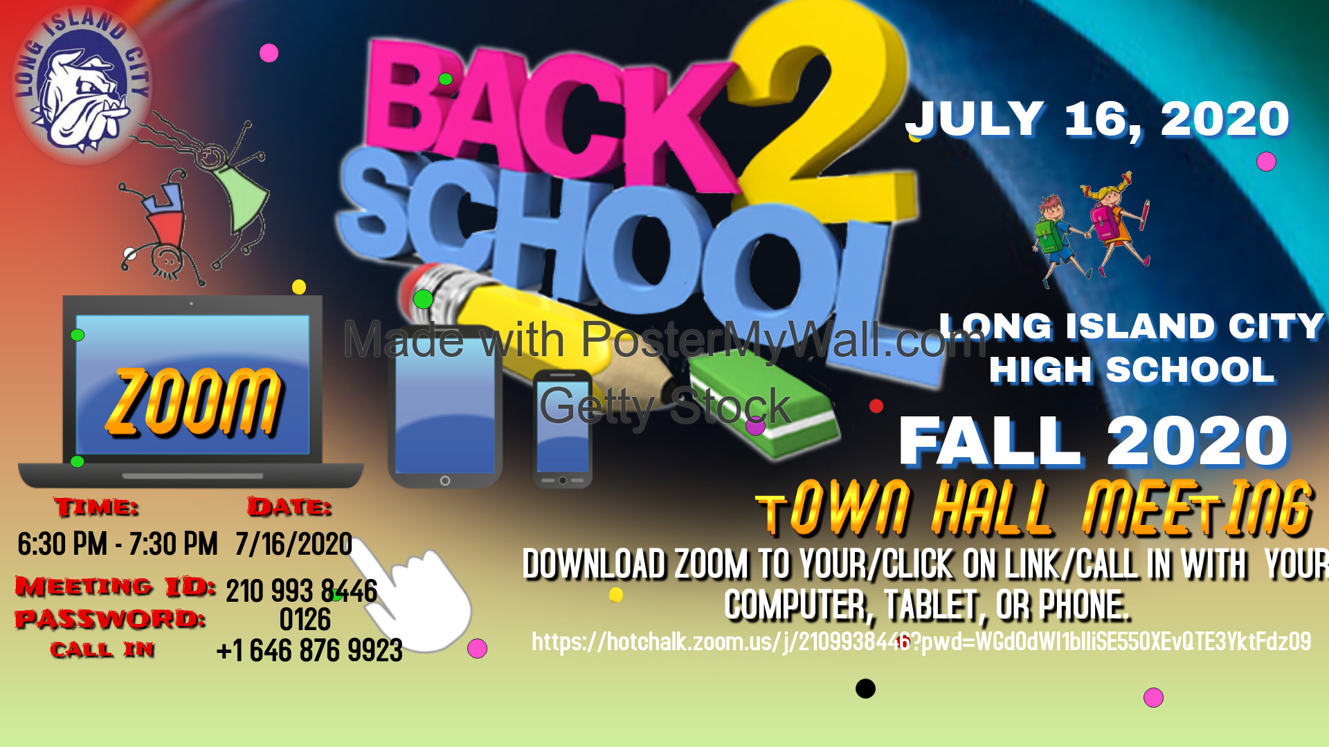 Back2School Town Hall Meeting flyer on July 16, 2020