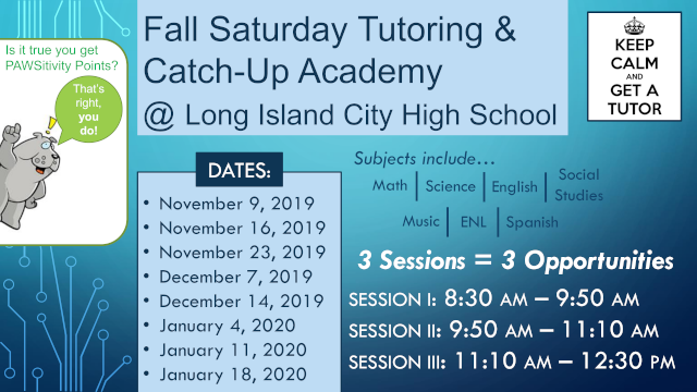 Link to PDF of Fall 2019 Saturday Tutoring Poster