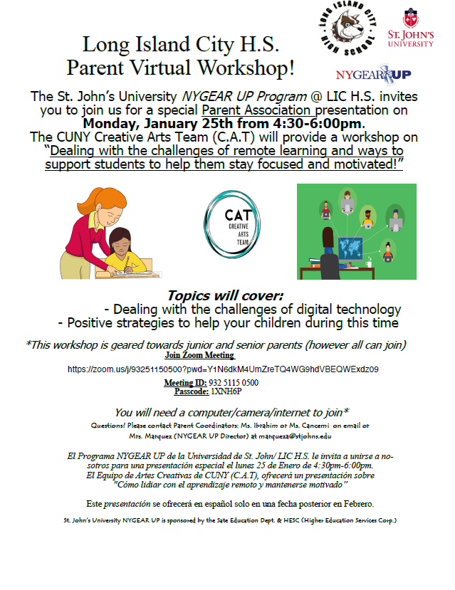 Long Island City H.S. Parent Virtual Workshop with St. John's University's NYGEAR UP