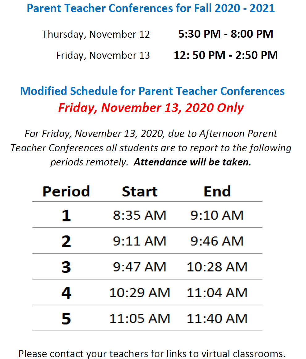 Parent Teacher Conferences schedule for November 2020