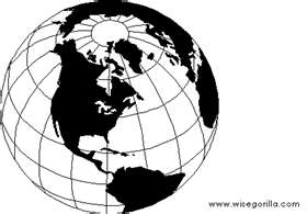 Black and white globe with grids