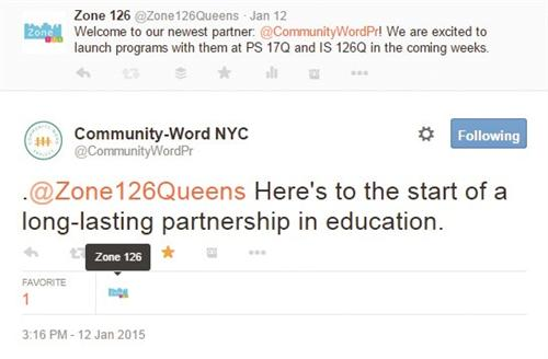 From Community-Word NYC: @Zone126Queens Here's to the start of a long-lasting partnership in education
